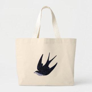 swallow paper cut (free) large tote bag