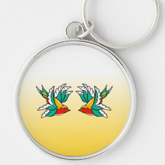 Swallow sailor tattoo inspired design Silver-Colored round key ring