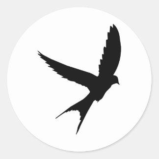Swallow Silhouette Classic Round Sticker