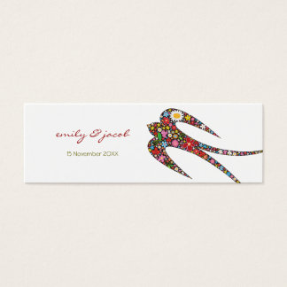 Swallow Spring Flowers Thank You / Favor /Gift Tag Mini Business Card