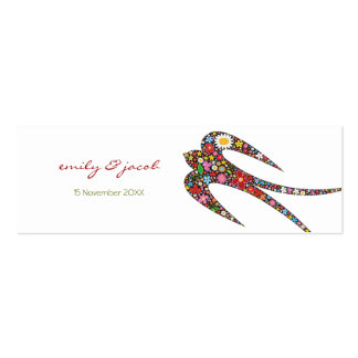 Swallow Spring Flowers Thank You / Favour /Gift Pack Of Skinny Business Cards