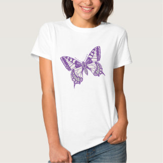 Swallow-tail butterfly graphic inked purple t-shirt