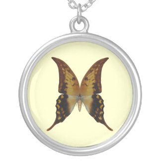 Swallow Tail Butterfly Round Pendant Necklace