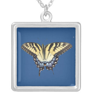 Swallow Tail Butterfly Square Pendant Necklace