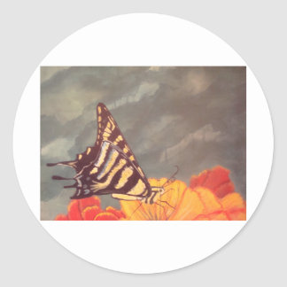 Swallow Tail Butterfly Round Stickers