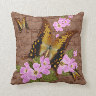 Swallow Tailed Butterfly And Waltz Grunge, Throw Throw Pillow