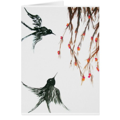 Swallows and berries greeting cards