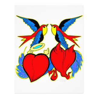 Swallows and Hearts Tattoo 21.5 Cm X 28 Cm Flyer