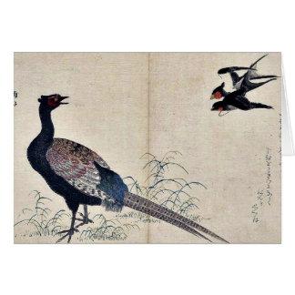 Swallows and pheasant by Kitagawa, Utamaro Ukiyoe Card
