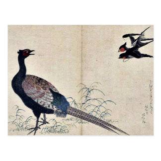 Swallows and pheasant by Kitagawa, Utamaro Ukiyoe Postcard