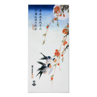 Swallows & Peach Blossoms, Hiroshige Japanese Fine Poster