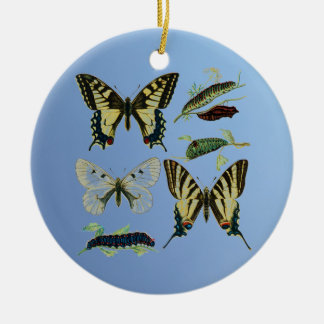Swallowtail Butterflies, Caterpillars and Moth Round Ceramic Decoration