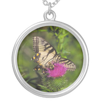 Swallowtail Butterfly and Bee on a Flower. Round Pendant Necklace