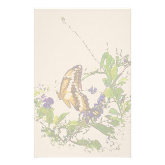 Swallowtail Butterfly Flowers Floral Wildlife Personalized Stationery