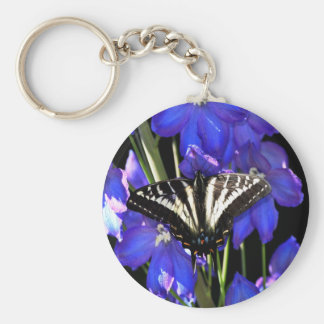 Swallowtail Butterfly on Delphiniums Key Chains