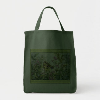 Swallowtail Butterfly on Forget-Me-Nots Painting Canvas Bags