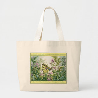 Swallowtail Butterfly on Forget-Me-Nots Painting Large Tote Bag
