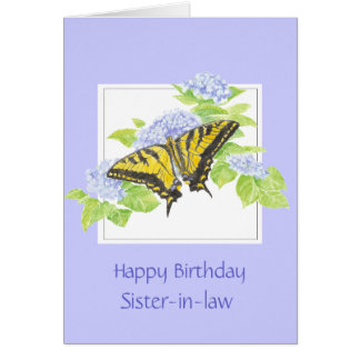 Swallowtail Butterfly on Hydrangea Flower art Card