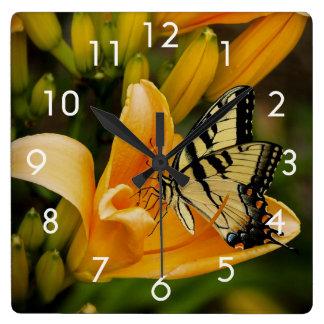 Swallowtail Butterfly on Orange Flowers Wall Clock