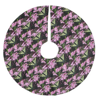 Swallowtail Butterfly on pink flowers Brushed Polyester Tree Skirt