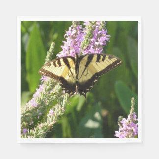 Swallowtail Butterfly on Purple Wildflowers Paper Napkins