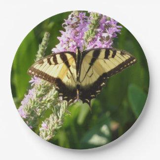 Swallowtail Butterfly on Purple Wildflowers Paper Plate