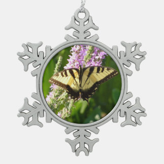 Swallowtail Butterfly on Purple Wildflowers Snowflake Pewter Christmas Ornament