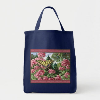 Swallowtail Butterfly Pink Flowers Garden Painting Tote Bag