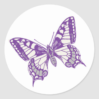 Swallowtail butterfly purple grey wedding sticker