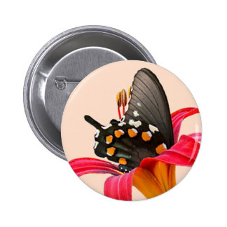 Swallowtail Butterfly Red Lily Gifts and Cards Button