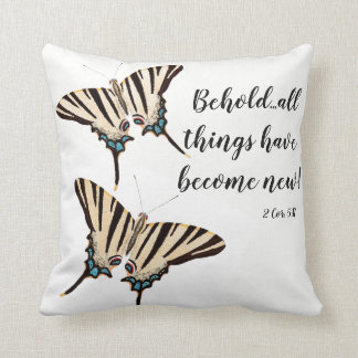 Swallowtail Butterfly Scripture Bible Throw Pillow