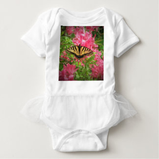 Swallowtail Butterfly Sits on Pink Azaleas Baby Bodysuit