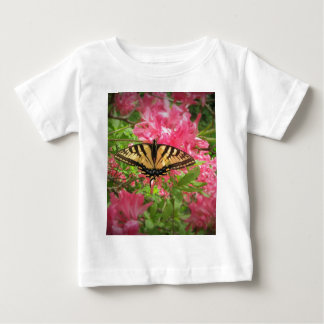 Swallowtail Butterfly Sits on Pink Azaleas Baby T-Shirt