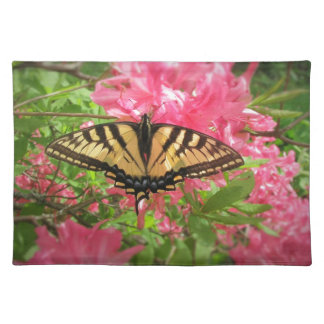 Swallowtail Butterfly Sits on Pink Azaleas Placemat