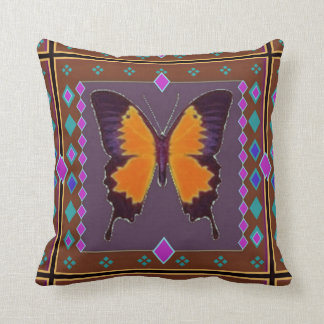 Swallowtail Coffee Brown Western Pillow by Sharles