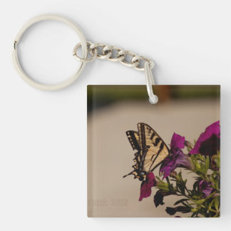 Swallowtail in the Petunias Key Ring