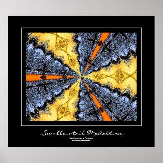Swallowtail Medallion Black Border Poster