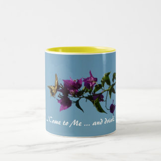 Swallowtail on bougainvillea Two-Tone coffee mug