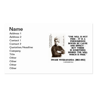 Swami Vivekananda Will Is Not Free Cause Effect Business Card