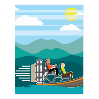 Swamp Boat ride AirBoat Postcard