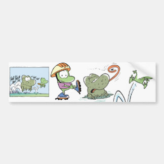 Swamp Frogs Cartoon Bumper Sticker