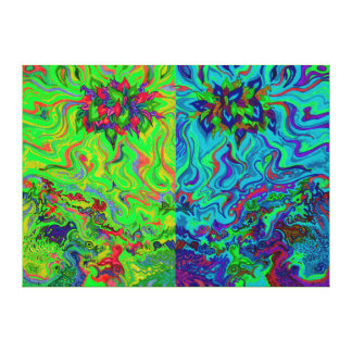 Swampy Garden Blue Green Duo Canvas Print