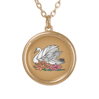 Swan 2 gold plated necklace