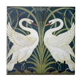 Swan and Rush and Iris wallpaper Tile