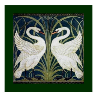 Swan and Rush and Iris wallpaper with green border Poster
