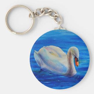 Swan Basic Round Button Key Ring