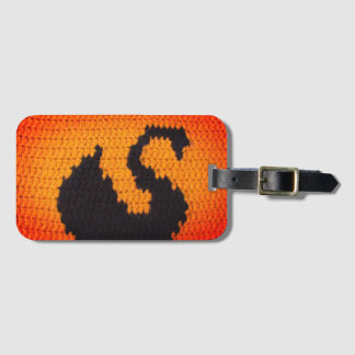 Swan Black Bright Crochet, Leather Strap Acrylic Luggage Tag
