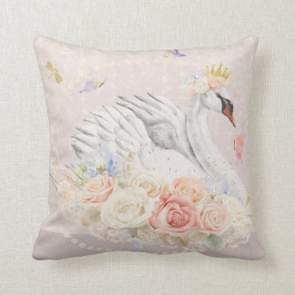 Swan Boho Girl Nursery Floral Butterfly Pillow