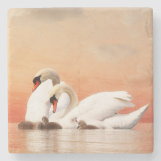 Swan family by sunset stone coaster