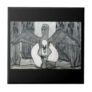 Swan Family Ceramic Tile